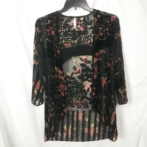 Urban Outfitters Floral And Velvet Kimono